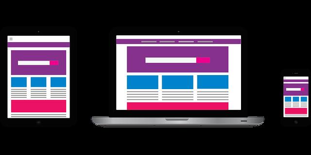 webové stránky, mobilní zařízení
